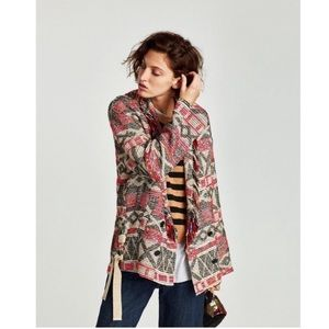 Zara Fringed Coat With Ribbons Boho Jacket